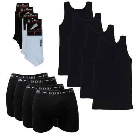 FBSBW MYFLEX Πακέτο 4 Τεμαχίων Ανδρικές Φανέλες Τιράντα Μαύρες, Ανδρικά Μπόξερ και Κάλτσες Κοφτές Σοσόνι(BLACK)