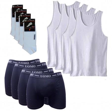 FBSWN YCE Πακέτο 4 Τεμαχίων Ανδρικές Φανέλες Τιράντα Λευκές, Μποξεράκια και Κοφτές Κάλτσες (NAVY BLUE)